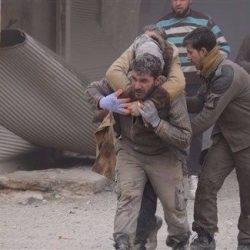 الطيران الحربي التابع للنظام السوري يستهدف مدينة عربين التي يسيطر عليها فيلق الرحمن في غوطة دمشق الشرقية