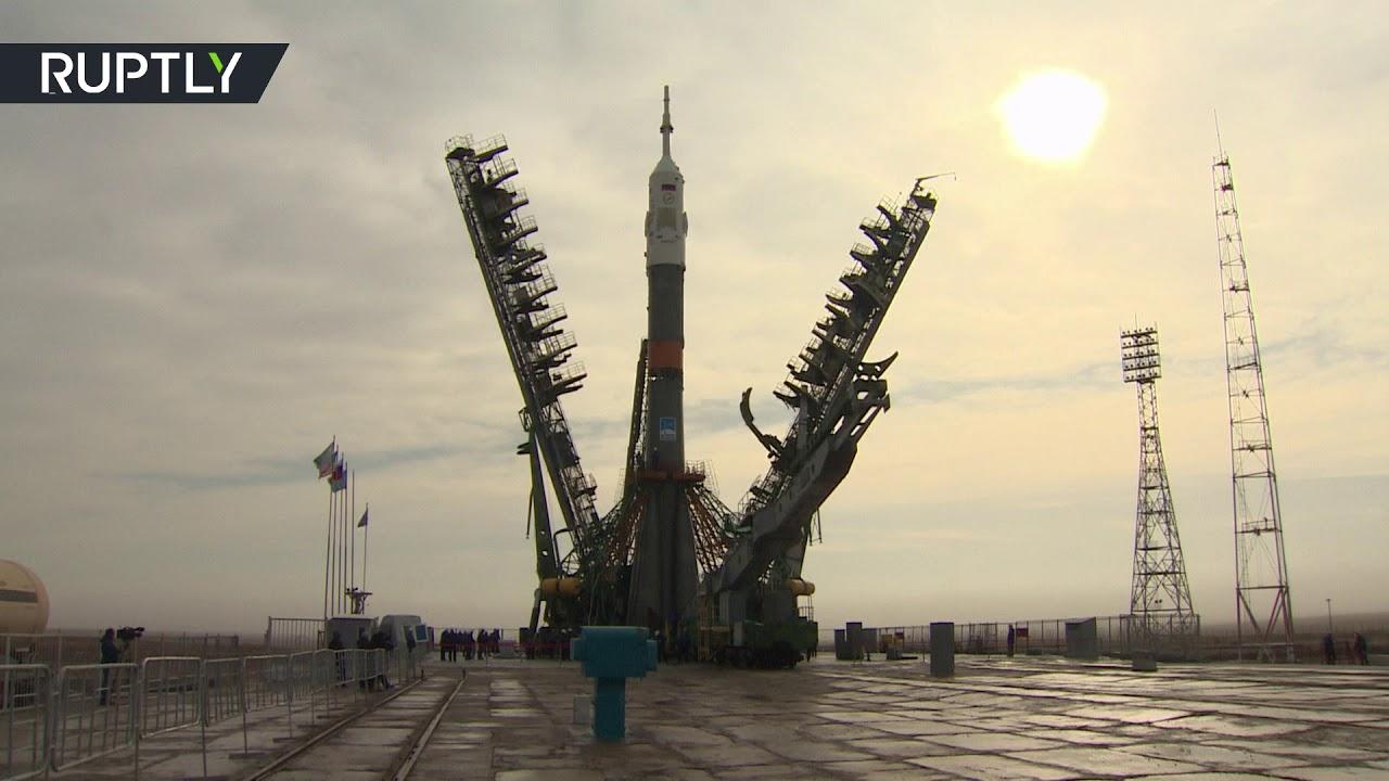 """بالفيديو إستعداد صاروخ """"سويوز"""" لينطلق في رحلته للفضاء"""