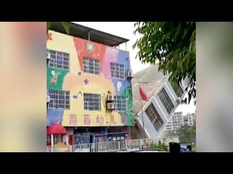 بالفيديو الأمطار تتسبب في 6 منازل في جنوب الصين