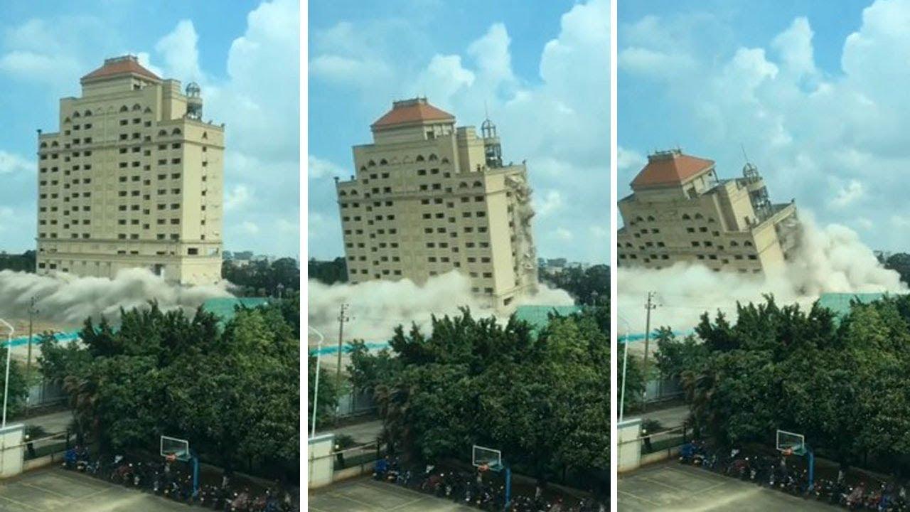 شاهد تدمير فندق فى الصين بالمتفجرات