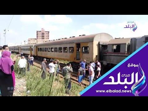 بالفيديو قطار يخرج عن القضبان بمحطة شبين الكوم
