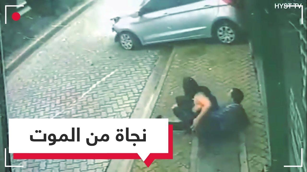 بالفيديو شاب ينقذ فتاة من حادث دهس بطريقة سينمائية