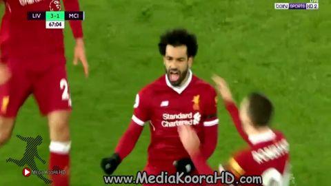 بالفيديو صلاح يتألق فى فوز ليفربول على مان سيتى 4-3