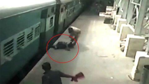 بالفيديو إنقاذ سيدة سقطت بين القطار ورصيف المحطة