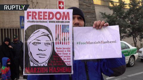 السفارة السويسرية فى طهران تشهد وقفة إحتجاجية بسبب إعتقال الصحفية مرضية هاشمي